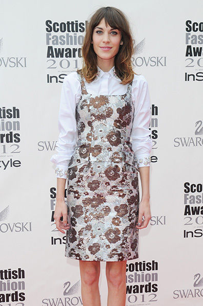 Alexa Chung in a Christopher Kane Brocade dress