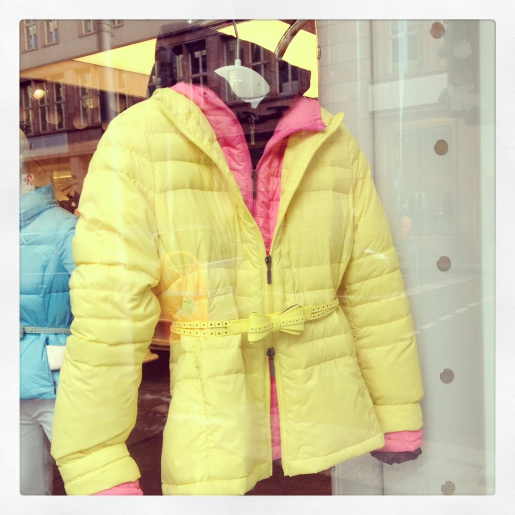 Yellow Peplum Puffer Jacket