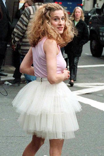 Carrie's white tutu skirt in the opening sequence of SATC