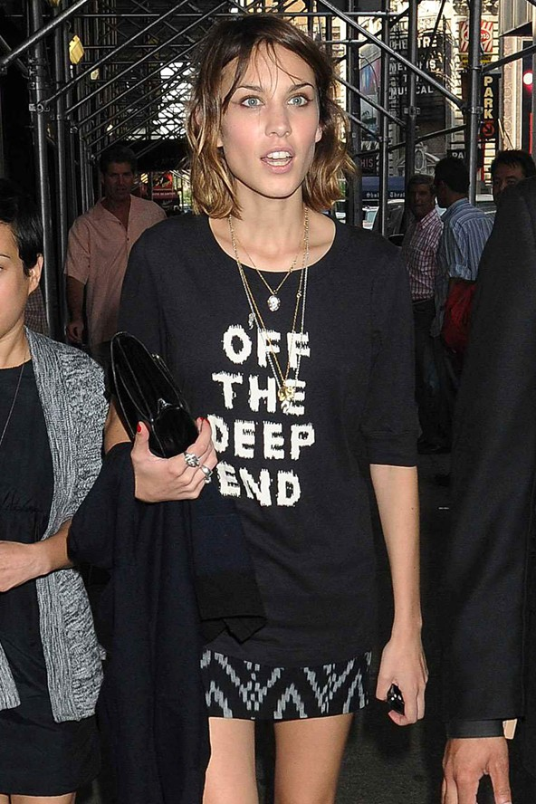 Alexa Chung lets everyone knows how she feels in a Marc Jacobs Slogan Tee