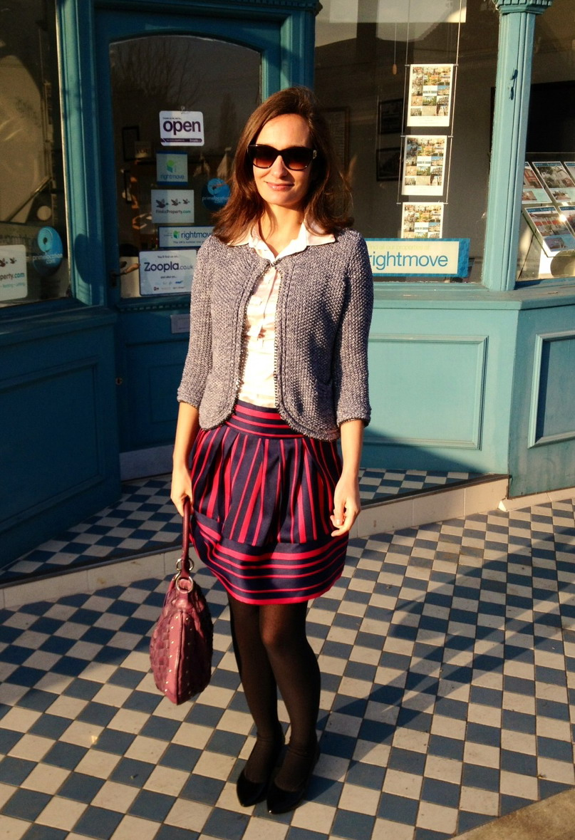 Boxy cardigan and puffy navy-pink skirt from Max & Co SS2013