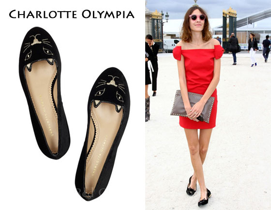 Alexa Chung in THOSE Charlotte Olympia kitten flats