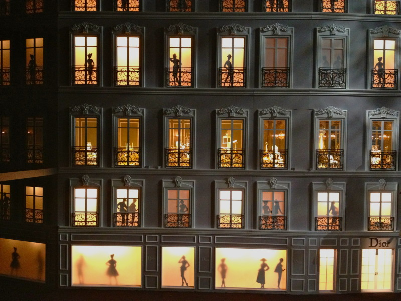 Giant dollhouse – a mini replica of the façade of Christian Dior's first ever boutique – which opened in 1947 at 30 Avenue Montaigne in Paris.