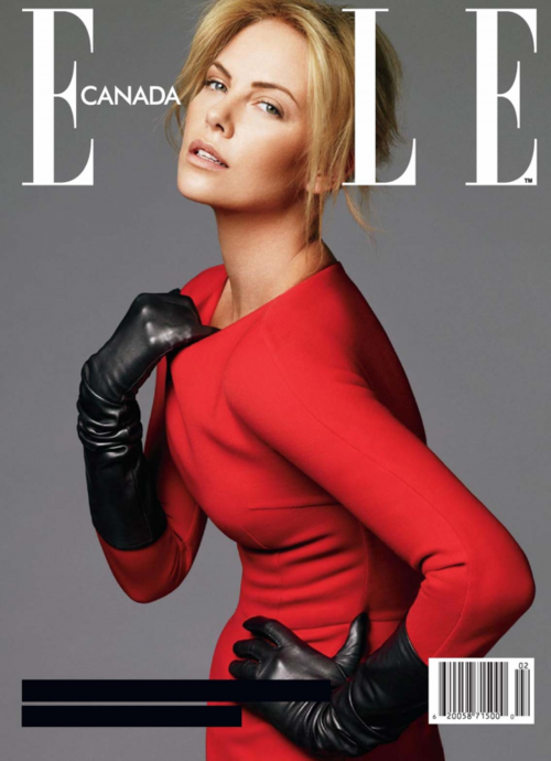 Charlize Theron showing us the sexy way to wear long gloves: In red and black and a dress