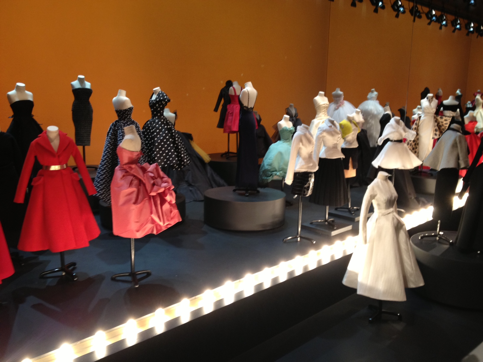 Mini mannequins wearing Dior Haute Couture from 40 years in the mini fashion theatre