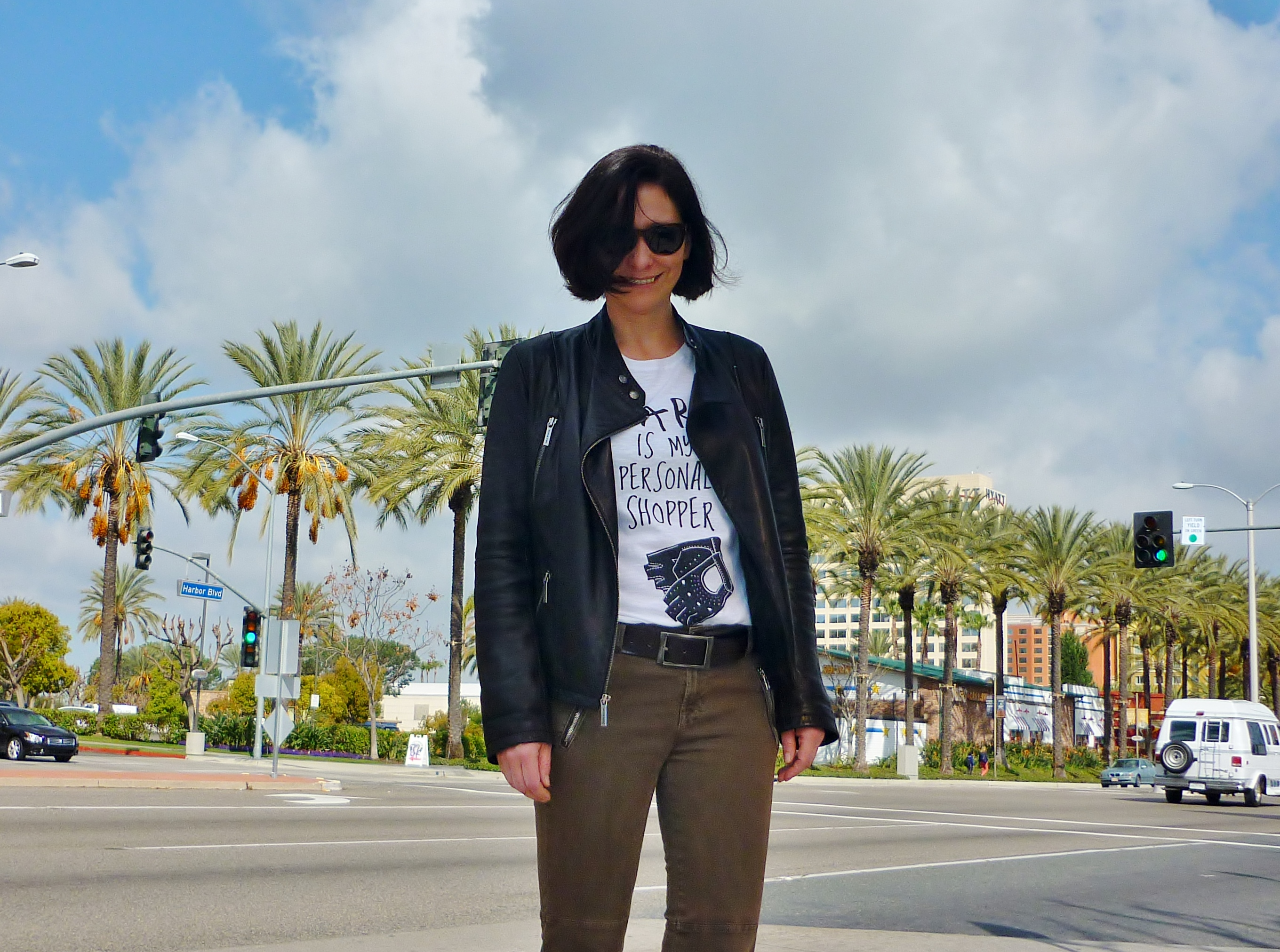 California street style: I'm wearing a slogan tee and a black Michale Kors leather jacket