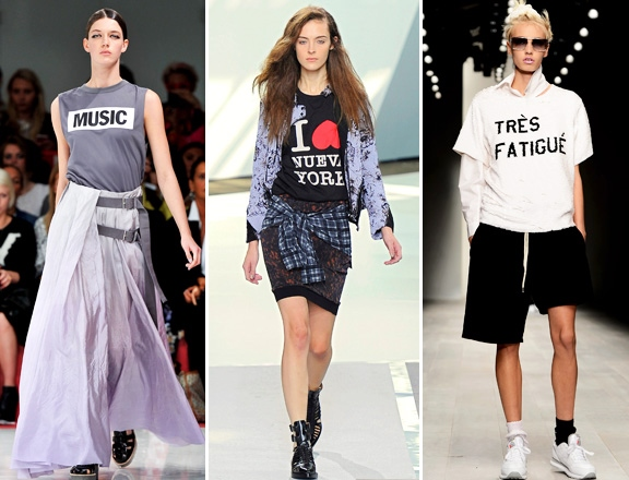 Slogan Tees on the catwalk