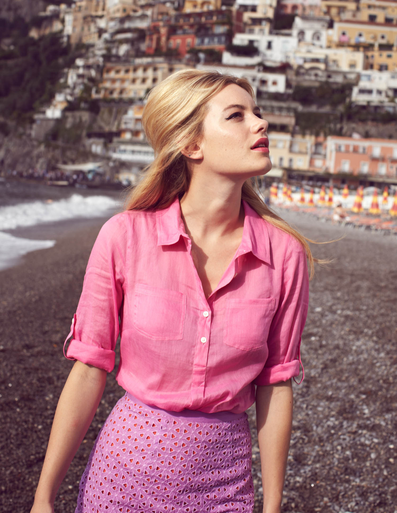 Pink Broderie Anglaise shirt