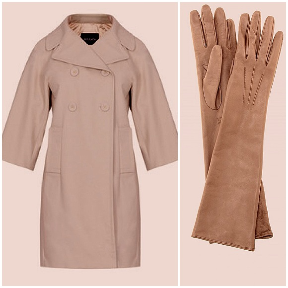 three quarter length sleeves coat and long leather gloves