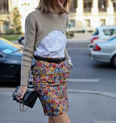 Printed Celine pencil skirt and white blouse paired with a nude cropped jumper