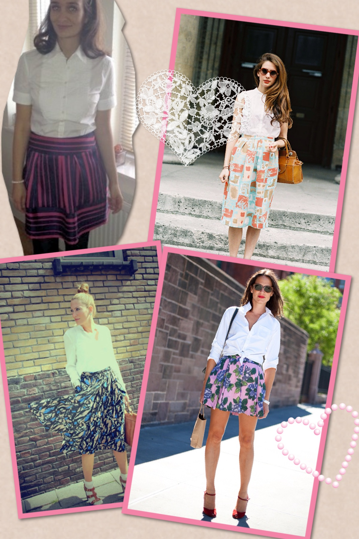 Different ways of wearing white shirts and printed skirts