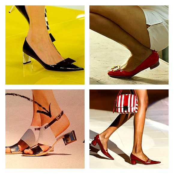 From top left to bottom right: Louis Vuittoon SS2013 heels, red ballet flast with midi heel from Russell & Bromley, metallic sandals with block midi heel from Attilio Giusti Leombruni, red pointy block heel shoes from Marc Jacobs