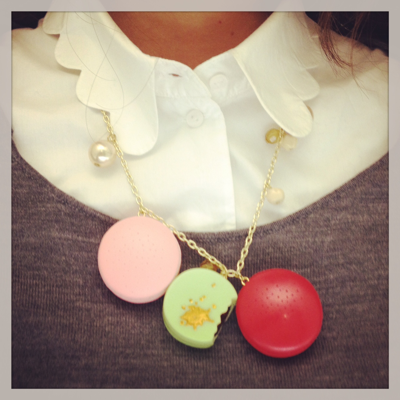 White collar from COS. Macaron necklace from Les Nereides.