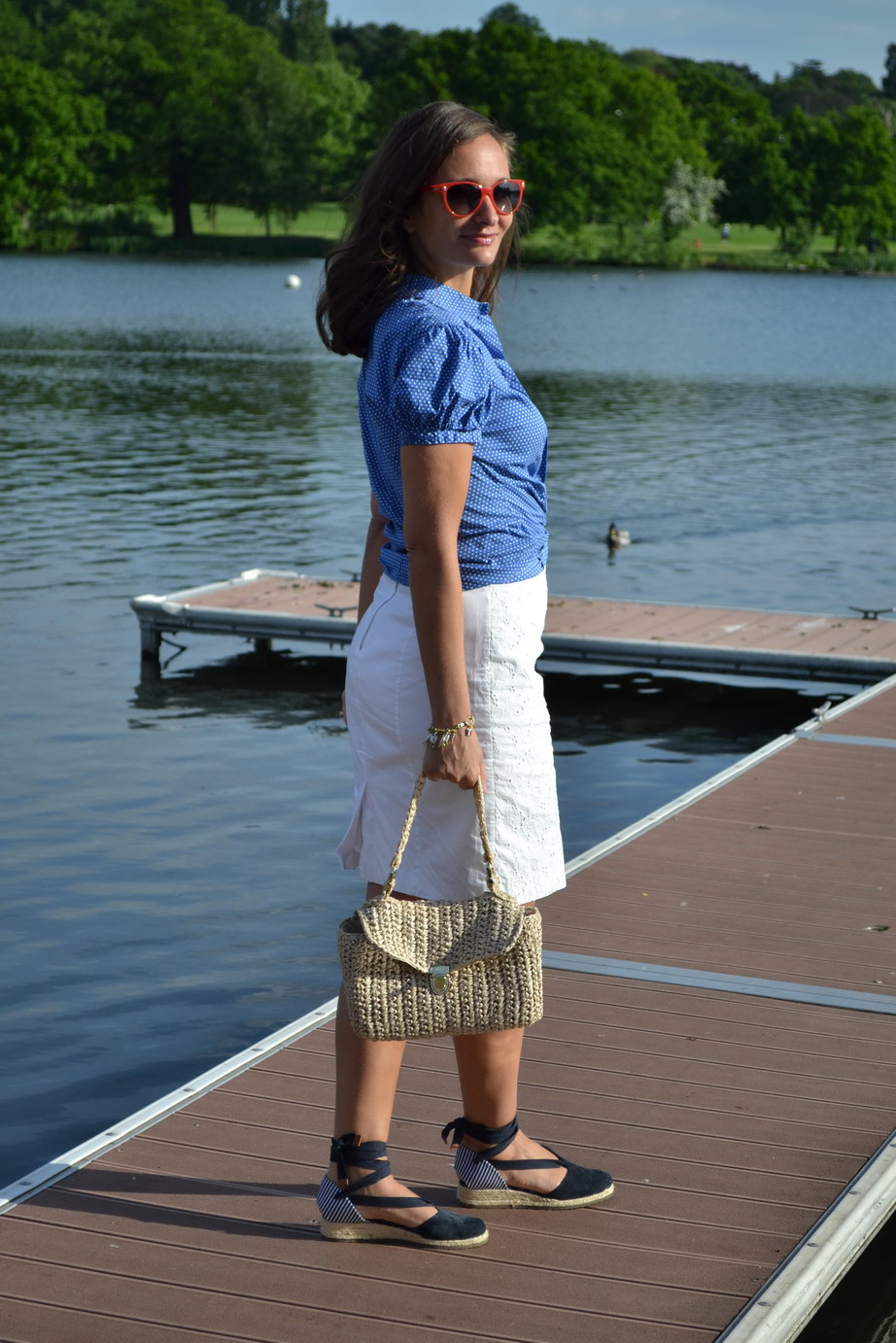 White pencil skirt H&M, blue polka dot blouse