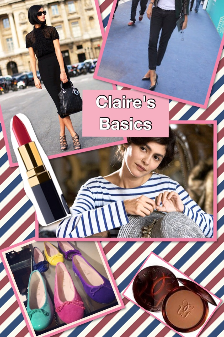 "French style basics a la Claire: Little Black Dress, La Marinière (Breton Shirt), colourful ballet flats, Chanel Lipstick in colour ""Mademoiselle"" and a bit of Terracotta Bronzer"