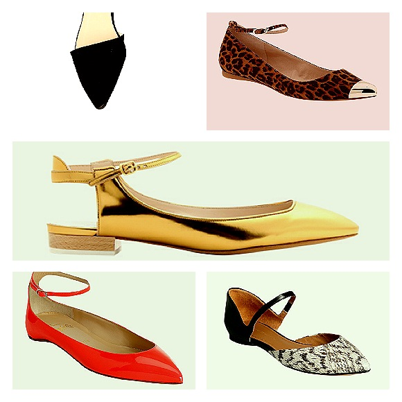 Pointy flats with ankle straps from Pixie Market, Leopard printed with silver toe cap from Mia Ashley  Chloe, Christian Louboutin and and Sigerson Morrison