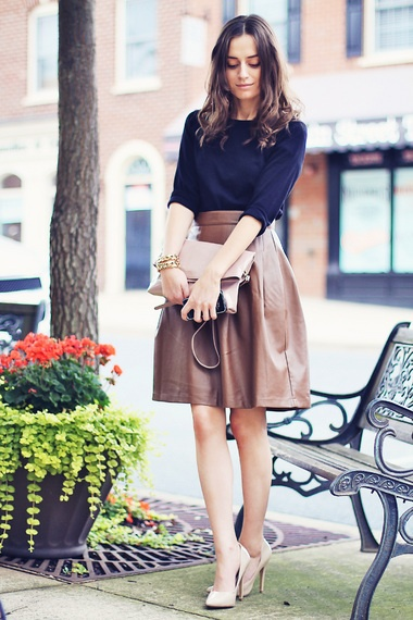 I love the full skirt in leather, it gives the sexyness a girly, innocent note