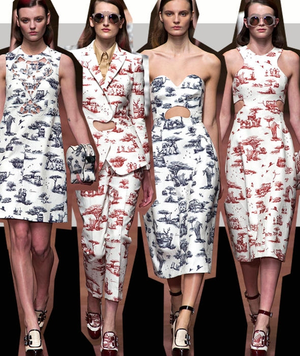 Carven's SS2013 toile print.  Franco-German Christophe-Philippe Oberkampf founded the manufacture of printed toile cottons