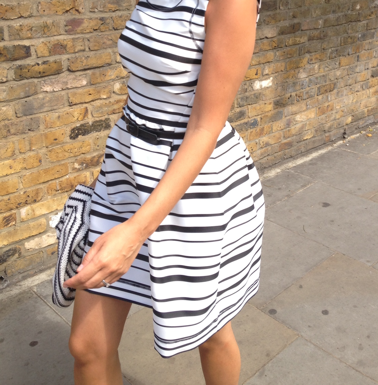 Streetstyle London in a black and white striped dress
