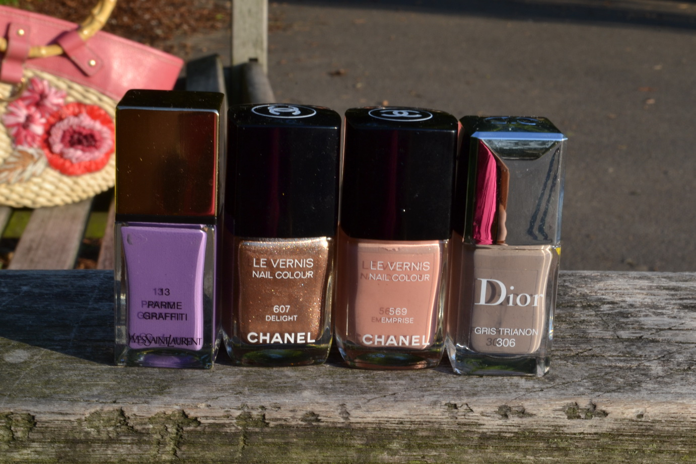 From right to left: YSL 'Parme Graffiti', Chanel 'Delight', Chanel 'Emprise', Dior 'Gris Trianon'