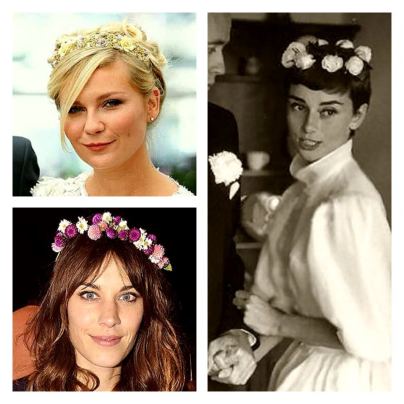 What I can reveal about my hair on the day is that it will be crowned by flowers of the season. I got inspired by Kirsten Dunst, Alexa Chung and Audrey Hepburn