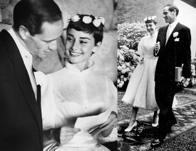 Audrey Hepburn marries Mel Ferrer in 1954 in a Balmain dress and floral tiara