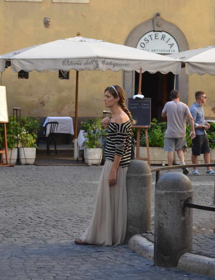 Street Style Rome Maxi SKirt and Breton Stripes