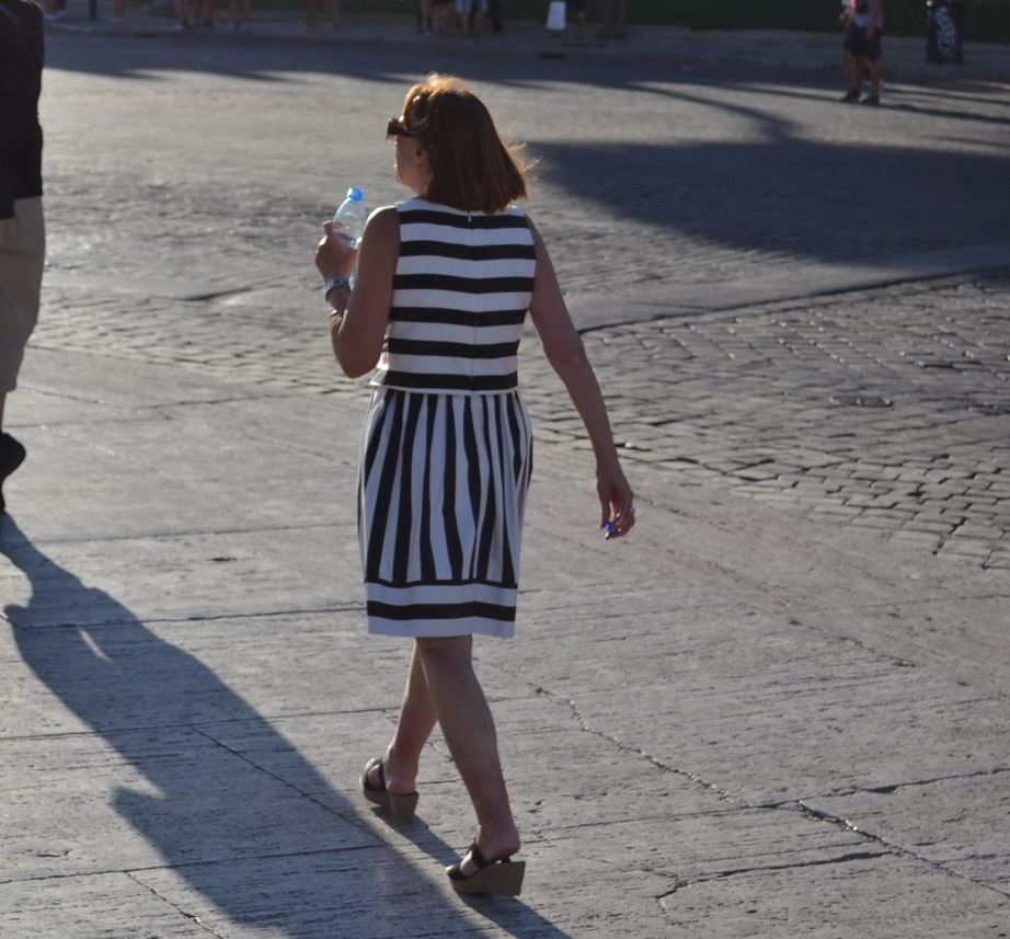 Rome Street Style monochrome stripes Dolce and Gabbana