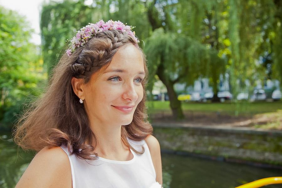 romantique wedding Berlin braid hair and flower crown