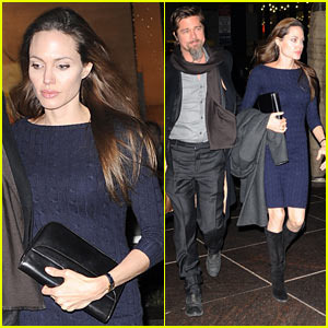 Angelina Jolie wearing a navy cable knit dress from italian label Loro Piana