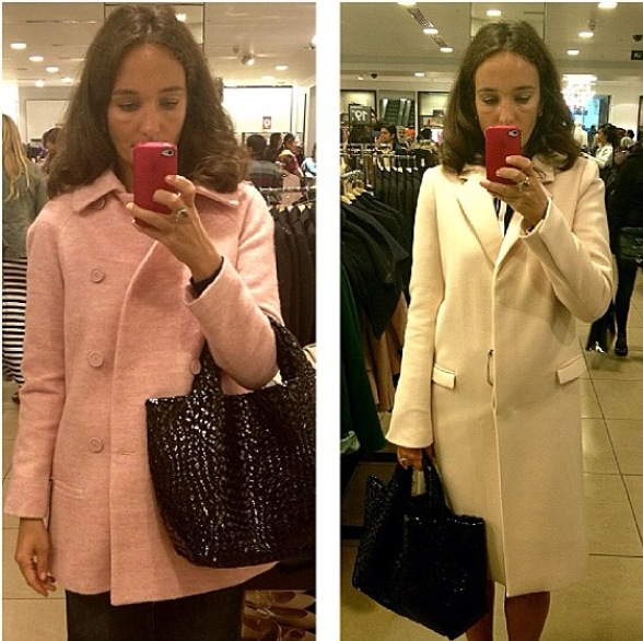 Zara's poweder pink power coat AW 2014