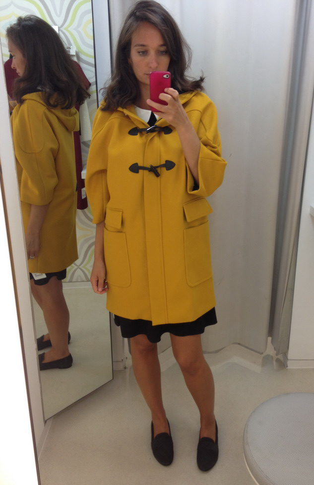 Yellow egg shaped duffle coat