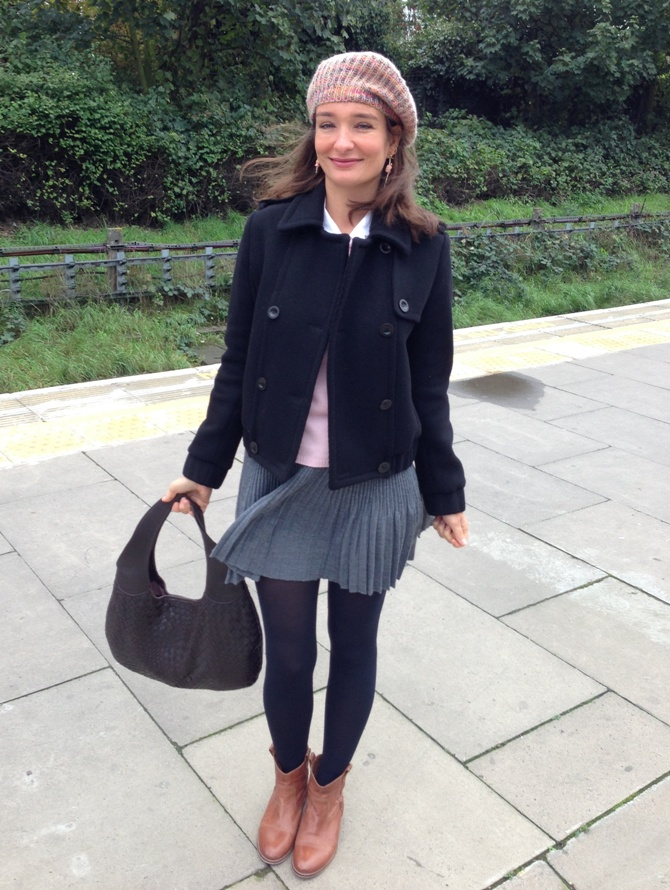 Knit pleated skirt, ankle boots and wool jacket