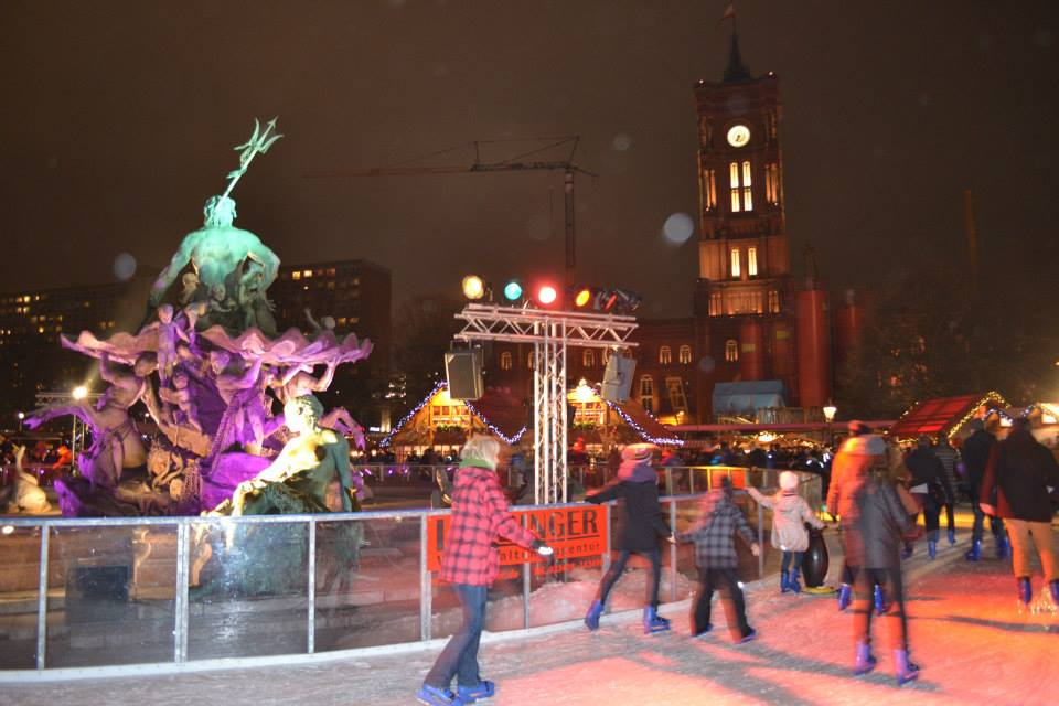 Ice rink at the Christmas Market at Alexanderplatz near the Red Town Hall