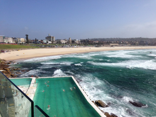 View of Bondi Beach from the famous Restaurant and outdoor pool Bondi Iceberg