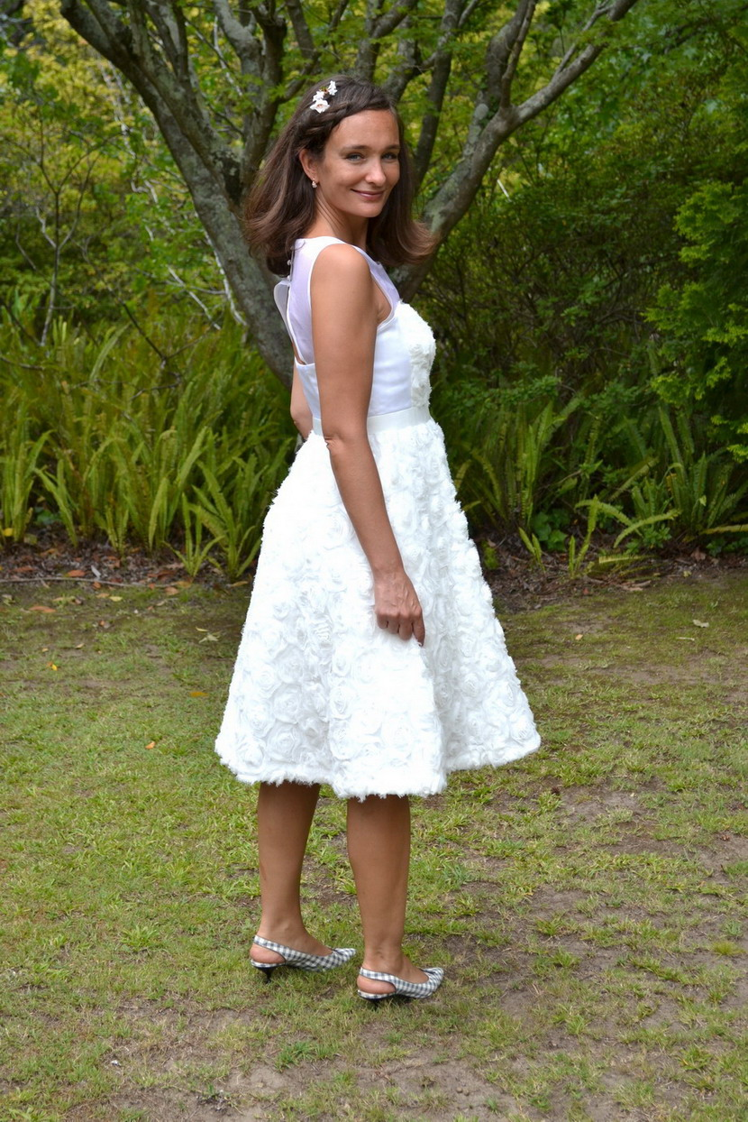 Rosebloom wedding dress J Crew and Marc Jacobs shoes