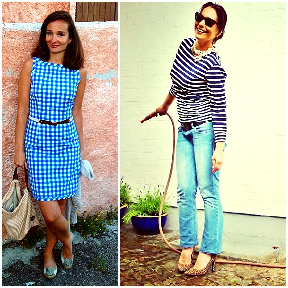 Rebel and myself in two quintessential French styles: Vichy/Gingham and Breton stripes!