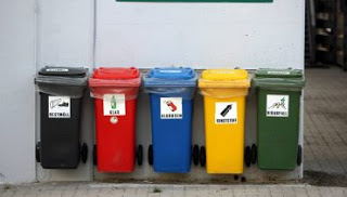 German recycling trash cans