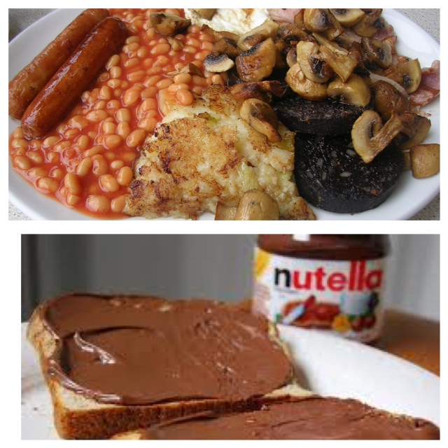 british breakast and German Nutella