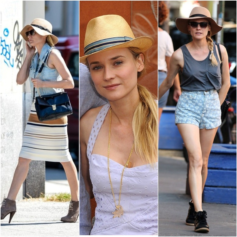 Diane Kruger straw hats style staple