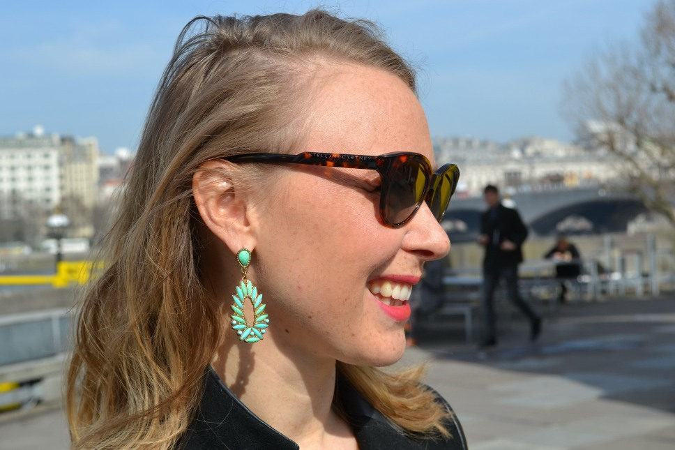 London Vogue Festival street style sunglasses Stella MccArtney and turquoise earrings