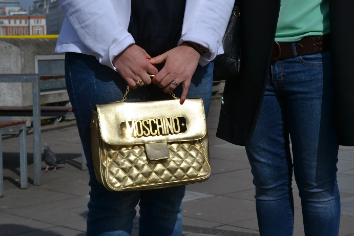 London Street style Moschino bag gold
