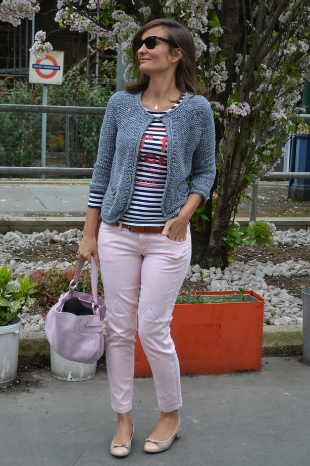 London streetstyle pink denim jeans just cavalli hispanitas ballerina