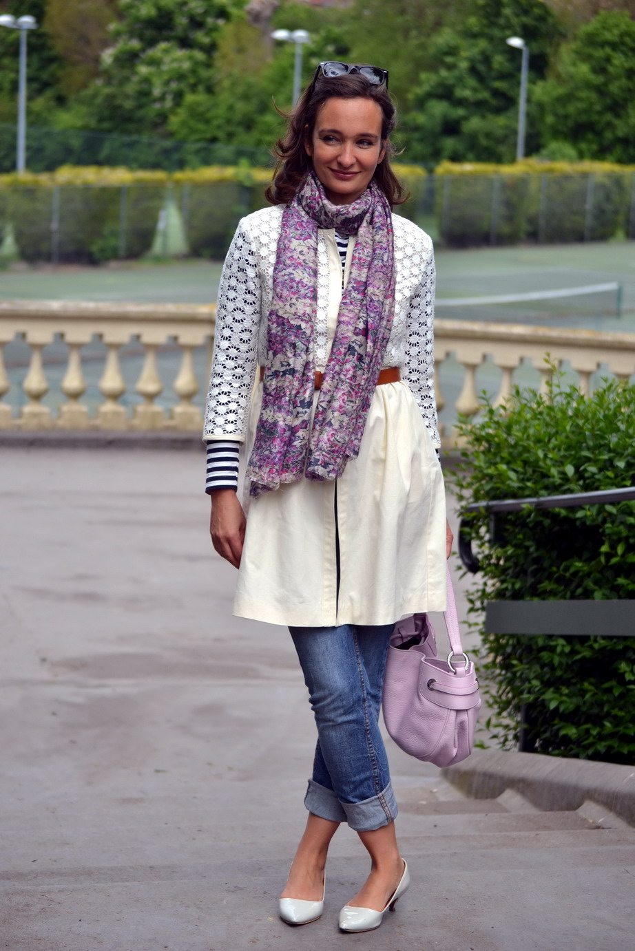 Lily and Lionel Scarf Broderie Anglaise coat Max and Co
