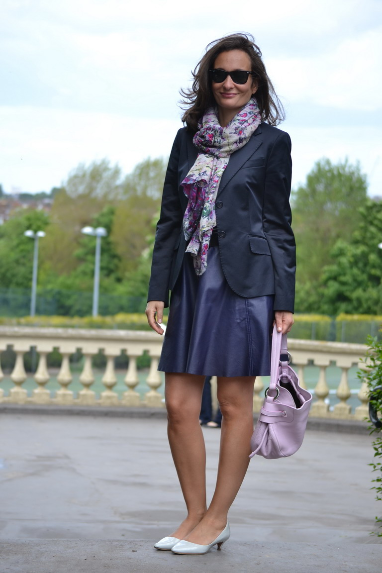 Lily and Lionel Scarf Blossom Lavender, leather skirt and navy blazer