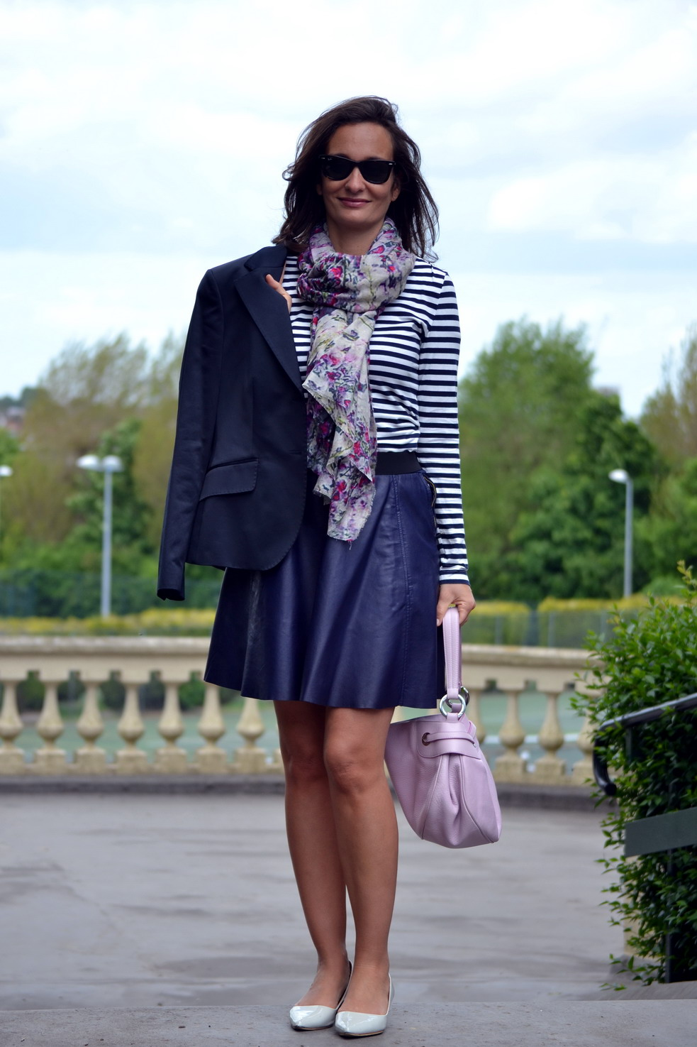 Lily and Lionel scarf blossom Lavender, leather skirt and blazer
