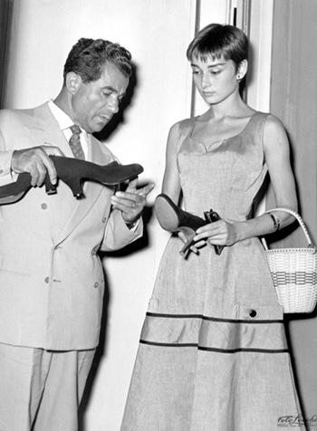 Salvatore Ferragamo and Audrey Hepburn