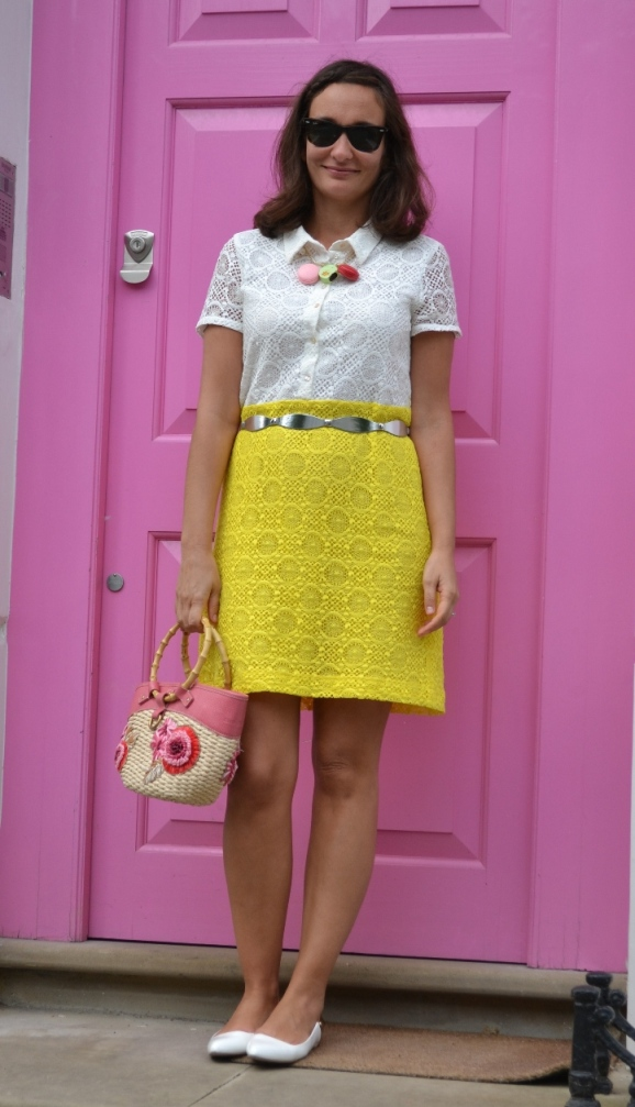 Limoncello lace dress Notting Hill Street style
