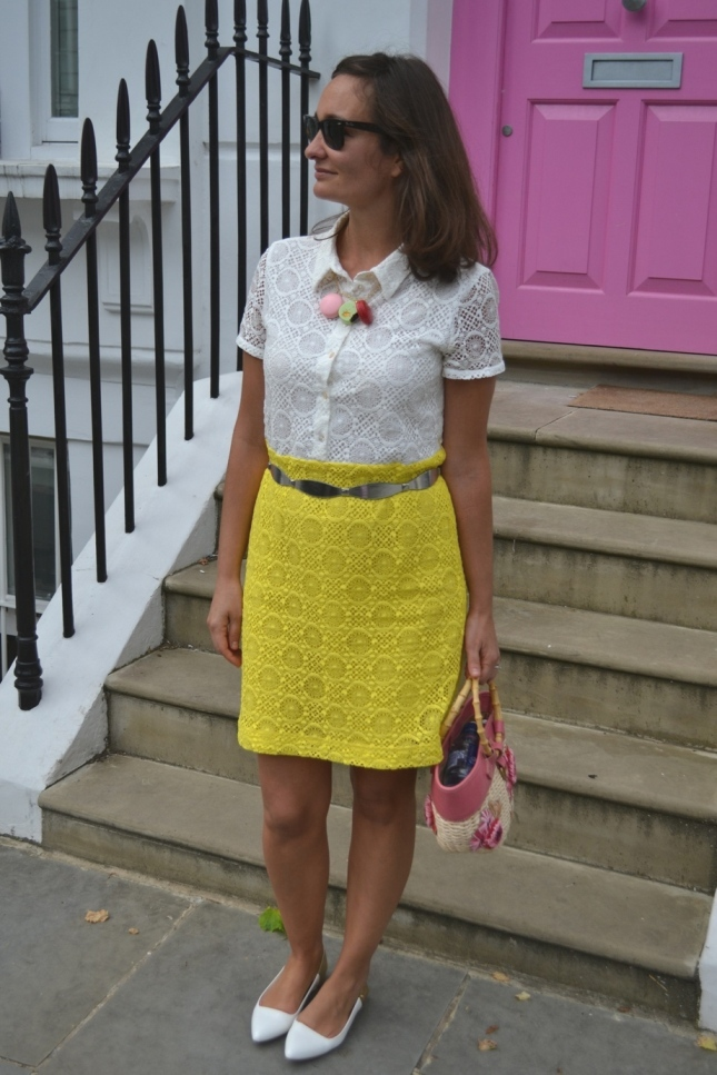 Max & Co Lace dress yellow London Street Style