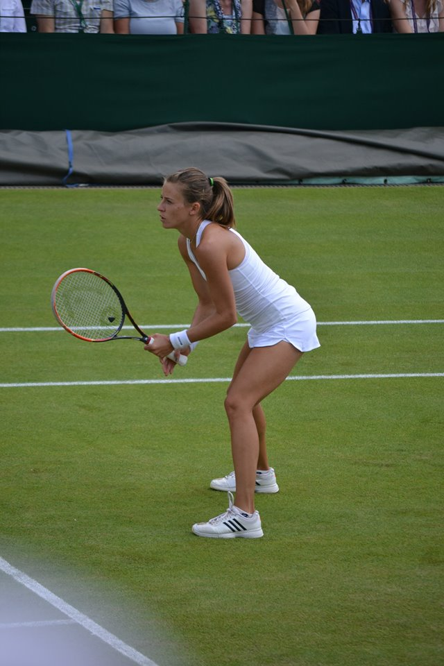 Wimbledon tennis player Alicja Rosolska playing a brilliant double match for over two hours!